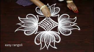 Latest Easy Rangoli Art Designs By Suneetha    Simple Cute Lotus Kolam    Small Muggulu