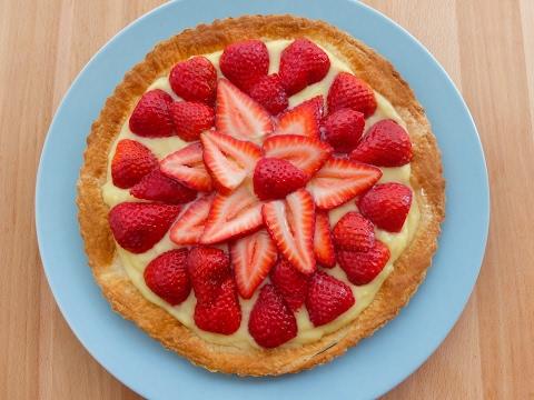 Cómo preparar una tarta de hojaldre con fresas