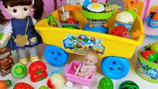 Baby doll camping and kitchen food cooking toys picnic cart play  - 토이몽