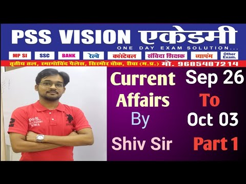 Current Affairs by Shiv Sir for SSC/ VYAPAM / Railway