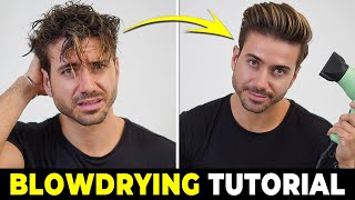 HOW TO USE A HAIR DRYER | Blowdrying Tutorial | Mens Hairstyle Tutorial 2019