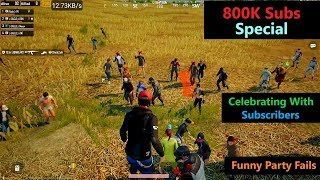"""[Hindi] PUBG Mobile   """"800K Subs"""" Special Funny Party Fails"""