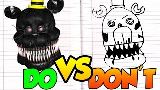 DOs & DON'Ts Drawing Five Nights At Freddy's Nightmare In 1 Minute CHALLENGE!