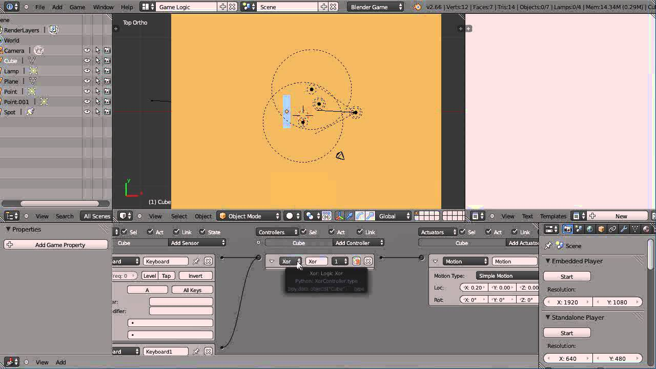 Blender Tutorial - The Powerful XOR Controller in the Game Engine