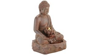 "Buddha 24"" High Rust Cast Bronze Indoor/Outdoor LED Fountain"