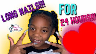 WEARING LONG ACRYLIC NAILS FOR 24 HOURS |  LONG NAILS CHALLENGE | CARDI B NAILS