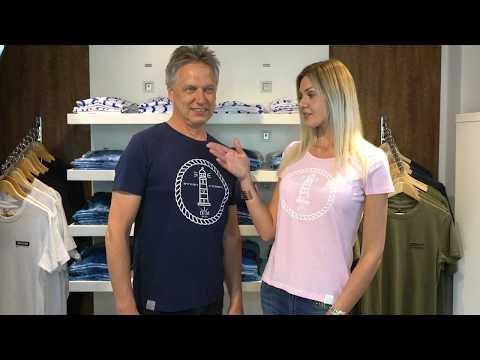 Jenny Delüx Herren Rundhals T-Shirt Navy blau mit Leuchtturm