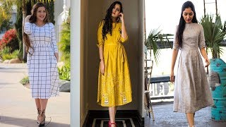 Daily Wear Cotton Dress Designs Ideas ||Knees Length Cotton Dresses For Girls/Teenager
