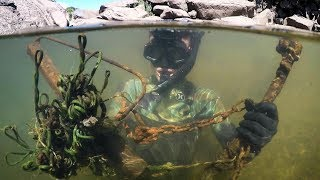 Found Knife, Fishing Gear, Anchors and More Underwater in River! (Snorkeling) | DALLMYD - Video Youtube