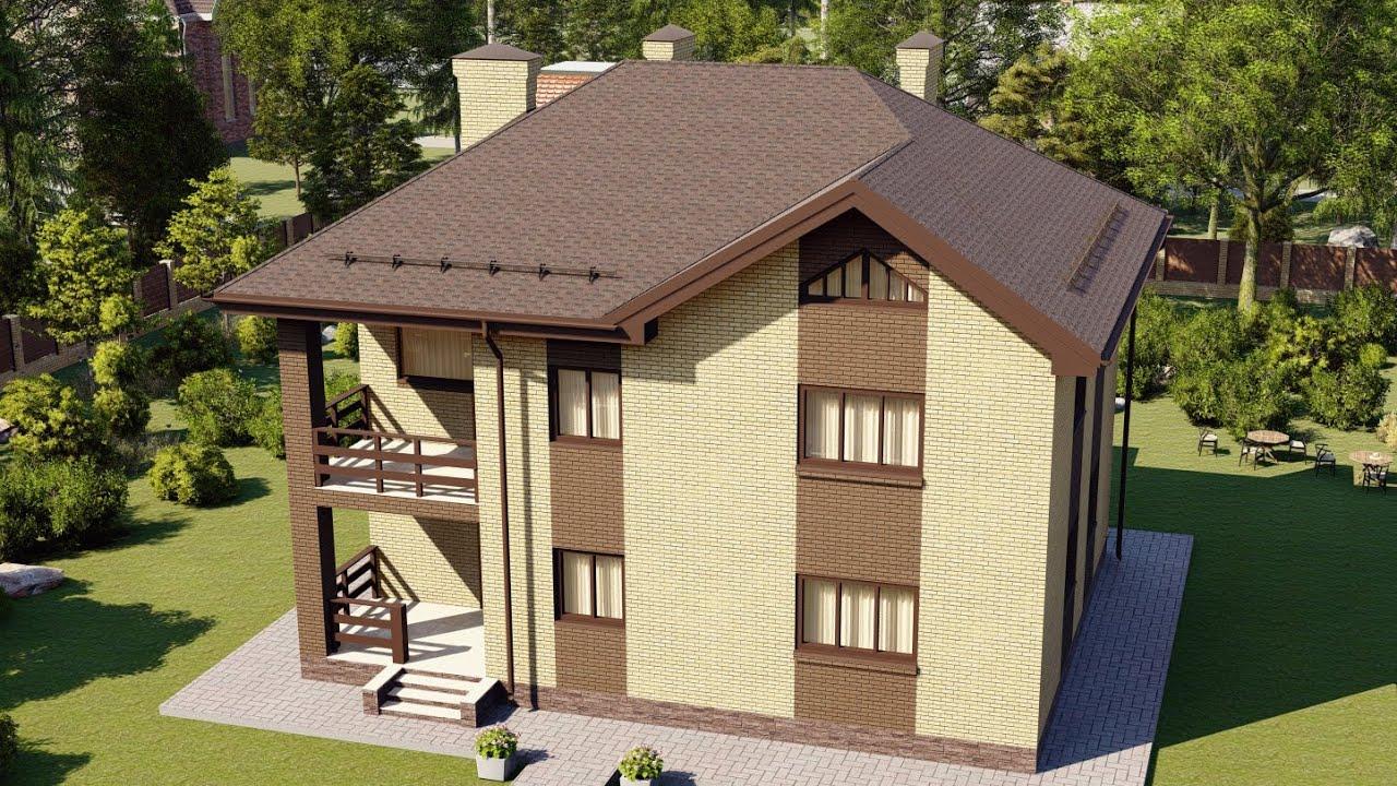 Проект современного двухэтажного дома с террасой и балконом