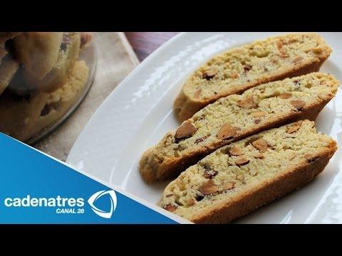 Receta para preparar biscoti de miel de anís y almendras. Receta de galletas