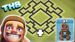 Clash Of Clans - EPIC TH8 BOMB TOWER HYBRID WAR BASE!!! (Trophy and farming build)