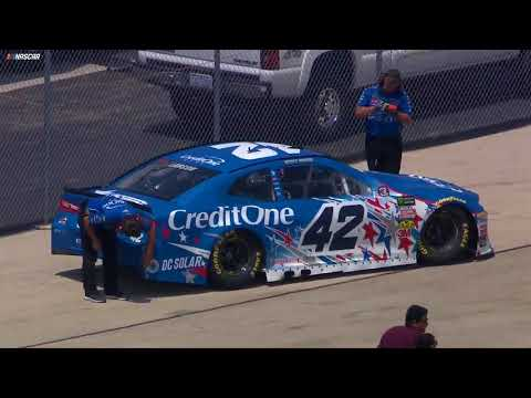 Larson gets into the wall during final practice