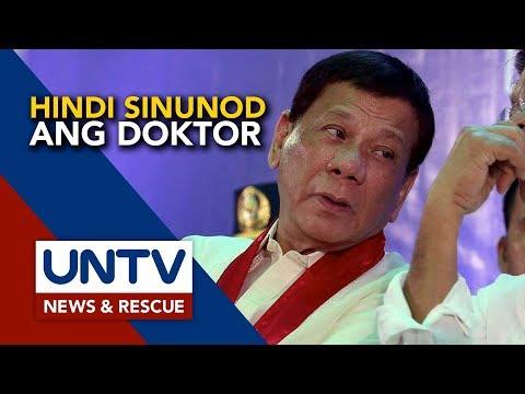 [UNTV]  Payo ng doktor na magpahinga, hindi sinunod ni Pangulong Duterte – Sen. Go