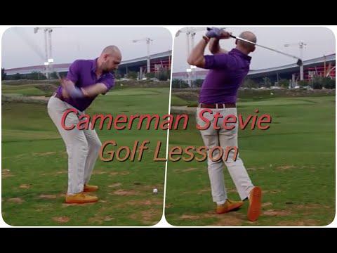 Dubai Cameraman Stevie's Golf Lesson at Trafford Golf Centre