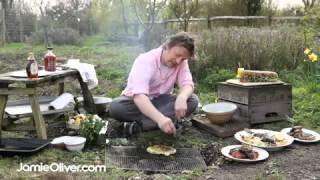 Jamie Oliver makes BBQ flat bread with wild garlic dressing
