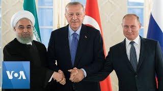 Iran President Rouhani, Turkey President Erdogan And Russia President Putin Take Photo At Summit