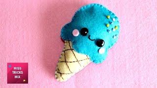 DIY : How To Make  An Adorable Felt Ice Cream / Felt Crafts.