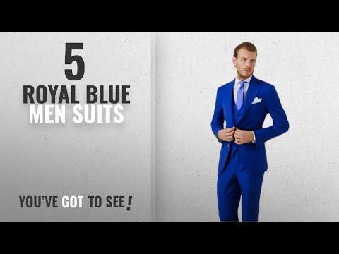 Top 10 Royal Blue Men Suits [Winter 2018 ]: AK Beauty Men's 3 Piece Two Button Royal Blue Suit