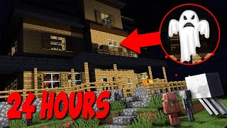 Monster School : 24 HOURS IN THE HAUNTED HOUSE HORROR CHALLENGE - Minecraft Animation