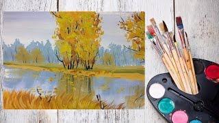Смотреть онлайн Как поэтапно рисовать осенний пейзаж гуашью