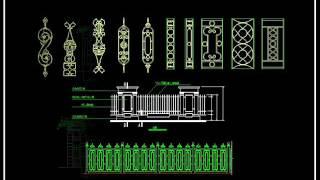 【 Download CAD Blocks,Drawings,Details,3D Models,PSD Blocks】Wrought Iron Railing Fence Design
