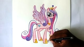 how to draw my little pony Princess Cadance Alicorn pony-Speed paint