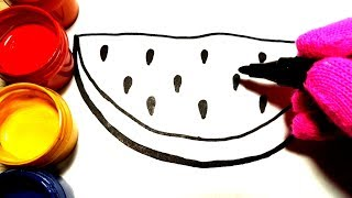 Glitter colour and drawing watermelon Learn Painting Colors for Kids, Toddlers /Children's Art