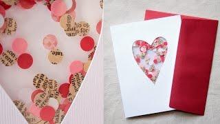 Открытка на День святого Валентина из цветной бумаги и конфетти своими руками | ДОМ ДИЗАЙН ИНТЕРЬЕР