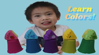 Learning Colors with Kinetic Sand Cake Toys For Kids | Colors Song