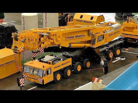HUGE RC SCALE MODEL CRANE TRUCK FRANZ BRACHT KG DEMAG AC-1200 AT WORK AMAZING / Intermodellbau 2016