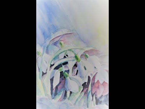 Schneeglöckchen in Aquarell ดอกระฆังหิมะสีน้ำ