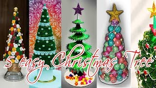 5 Easy DIY Christmas Tree Ideas | Best Out Of Waste | 5 Min Craft | Art With Creativity