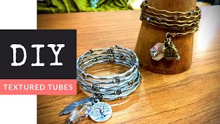 How To Make A DIY Textured Tube Beaded Memory Wire Bracelet