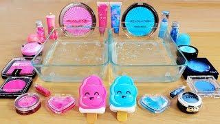 Pink Vs Blue - Mixing Makeup Eyeshadow Into Slime! Special Series 68 Satisfying Slime Video