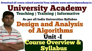 L1: Design and Analysis of Algorithm| DAA Tutorial | Algorithm Syllabus| Course Overview