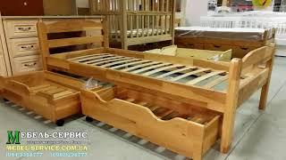 """Детская кровать Лия, 190х80 см, белый, съёмные бортики, ящик, ольха от компании Мебельное ателье """"Константа"""" - видео"""