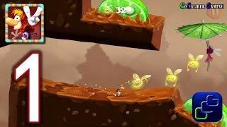 RAYMAN Fiesta Run Android Walkthrough - Gameplay Part 1 - Level 1-4 PERFECT 100%