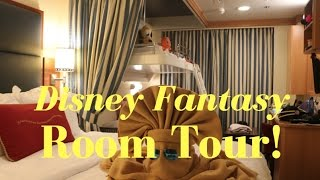 DISNEY FANTASY STATEROOM TOUR!! WE'RE DOUBLING UP!