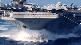 U.S. nuclear-powered SUPERCARRIER steams FULL SPEED into the PACIFIC to conduct FLIGHT OPERATIONS!