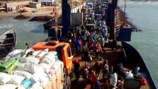 preview picture of video 'Hustle and bustle on the Banjul to Barra Ferry, The Gambia'