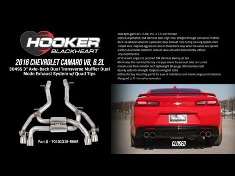 2016 Camaro V8, 6.2L Axle-Back Dual Transverse Muffler Dual Mode Exhaust System with Quad Tips