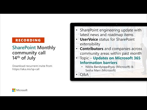SharePoint Community – July 2020 monthly community call recording
