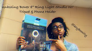 "Unboxing Bower 8"" Ring Light Studio W/51"" Extendable Tripod & Phone Holder"