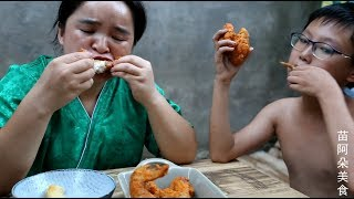 Sister Miao fried a plate of chicken wings, and it was crispy and crispy in one bite.