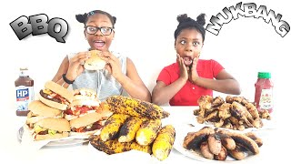 Spicy BBQ Ribs + Chicken Wings MUKBANG | Eating Show