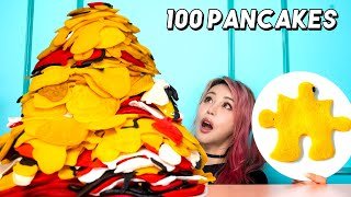 World's Biggest Pancake Jigsaw Pancake Art Challenge | BF vs GF!