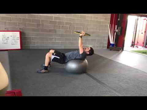 Stability ball curl up with plate