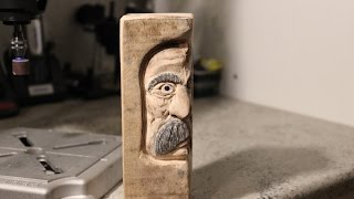 Carving A Middleaged Woodspirit  With Dremel Rotary Tool  500 Subscribers Thank You