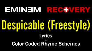 Eminem - Despicable (Freestyle) - [Lyric Video & Color Coded Rhyme Scheme]